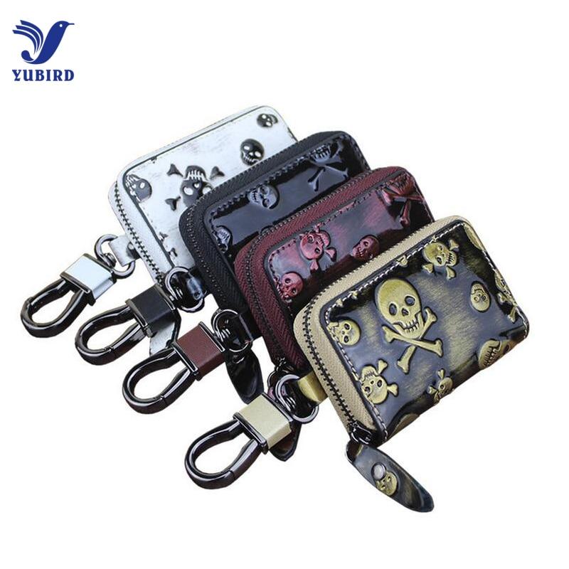 3D Skull Genuine Leather Men Key Holder Car Key Wallets Fashion Key Pouch Keychain Organizer Zipper