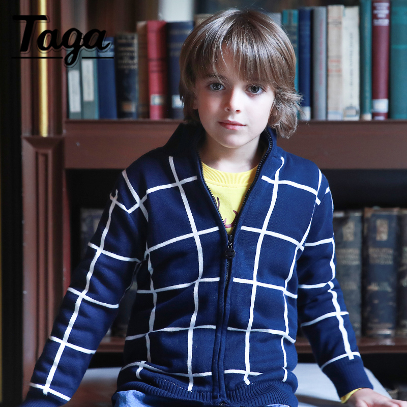Lavla 2017 Baby Boys Cotton Fleece Sweaters for Children Blue Square Plaid Outwear Spring Autumn Little Kids Sweaters Warm Tops