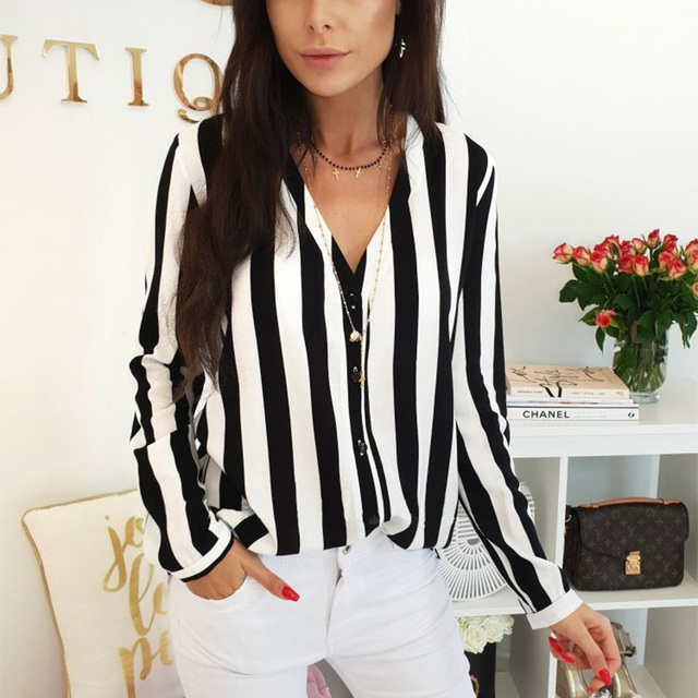 2019 New Blouse Women Casual Striped Top Shirts Blouses Female Loose Blusas Autumn Fall Casual Ladies Office Blouses Top Sexy 2