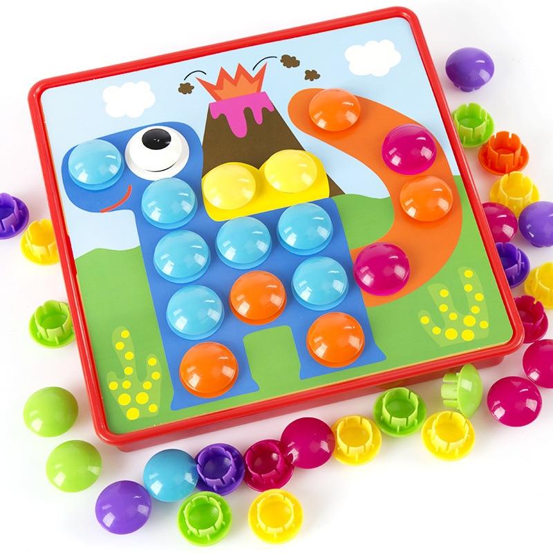 Kids 3D Puzzles Toys For Children Composite Picture Puzzle Creative Mosaic Mushroom Nail Kit Educational Toys Button Art