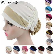 The New Double Color Elastic Cloth Towel Women Cap After Wearing Flowers Muslim Hat Chemotherapy Cap 2017 Hot Wholesale