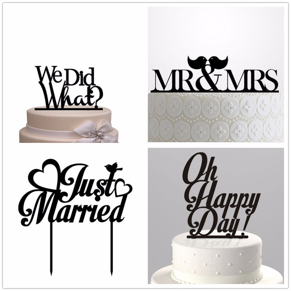 Oh Happy Day Wedding Cake Topper Black Acrylic Just