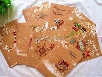 8pc L New Year Christmas Eve Party Invitations Xmas Card Cartoon Lovely Santa Claus Christmas Greeting
