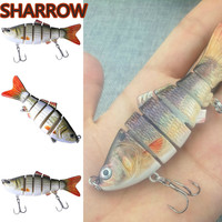 6Pcs Realistic Minnow Fishing Lure Six segment Lifelike Fishing Bait Hard Fish Hook Jointed Sections Outdoor Archery Accessories