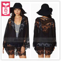 HDY Exportação 2016 new Sexy Black Lace chiffon OL Solto kimono blusa luva longa das mulheres Sem botões shirts tops tees verão