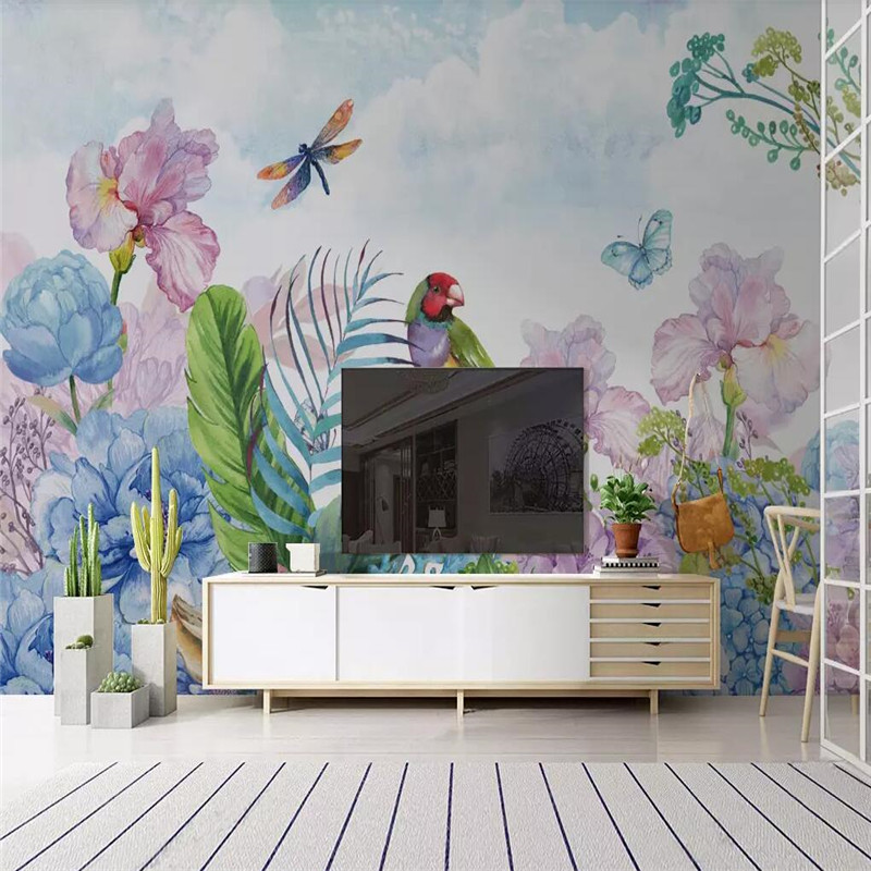 HD hand painted small fresh flower butterfly TV background wall professional custom mural wholesale wallpaper poster photo wall in Fabric Textile Wallcoverings from Home Improvement