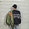 Плюс Размер Мужчины Куртку 2016 Air Force One Хип-хоп Патч Дизайн Slim Fit Пилот Бомбардировщика Куртки Пальто Мужчины куртки