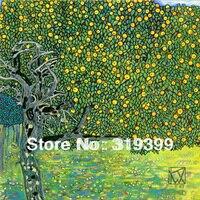 Gustav Klimt Oil Painting Reproduction On Linen Canvas GaGolden Apple Tree 24X24 Free Fast Ship Handmade