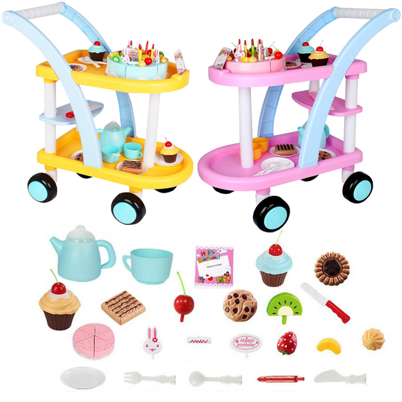 New simulation cake fruit birthday cake toy trolley playing house pretend play kids birthdays Christmas children's gift toys