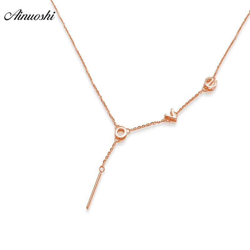 AINUOSHI 18K Rose Gold Love Letters Necklace Pendant Luxury Women Anniversary Engagement Necklace Pendant Jewelry Christmas Gift graceful solid color letters love shape necklace for women