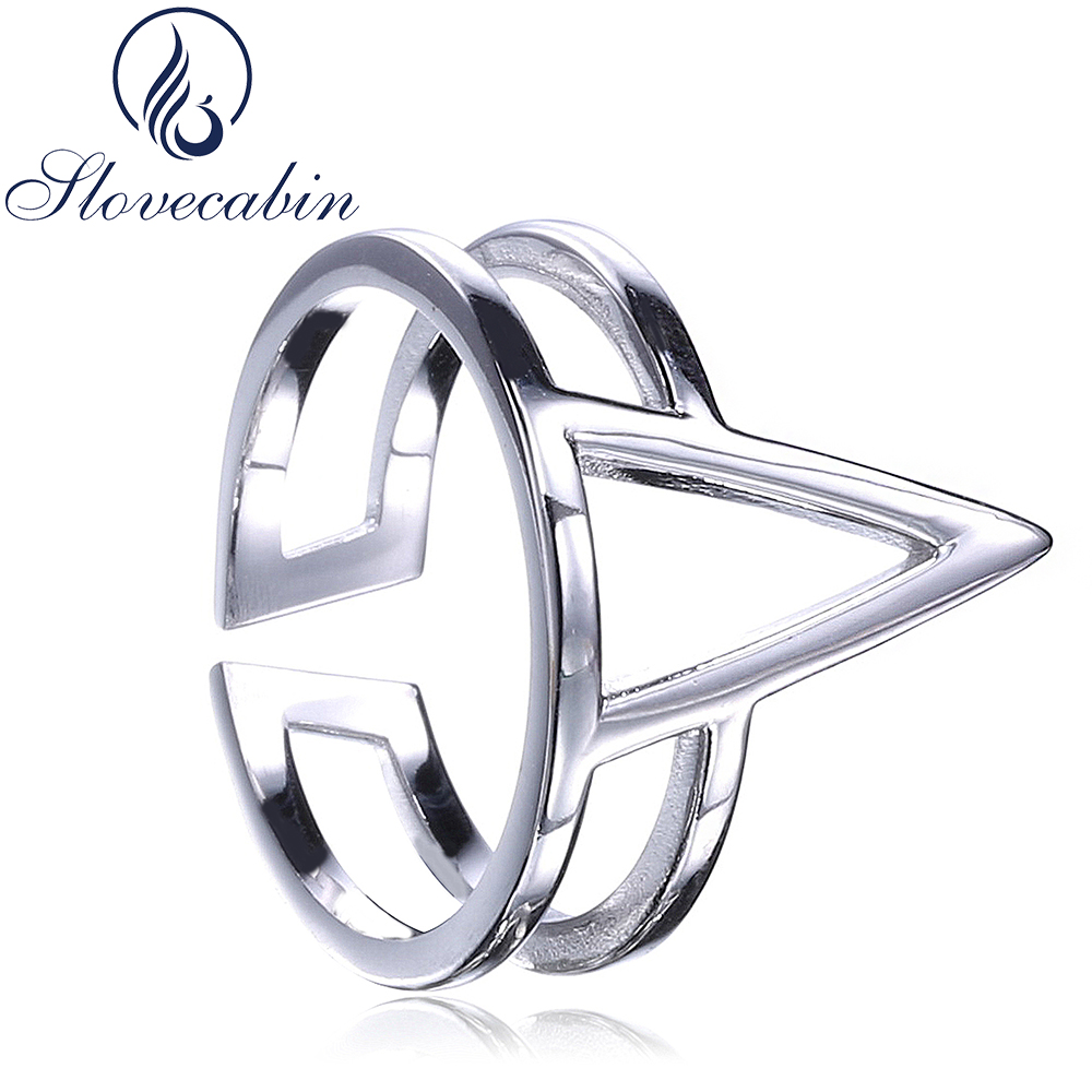 Slovecabin Antique 925 Sterling Silver Spinner Female Rings For Women Vintage Silver 925 Triangle Adjustable Bague Finger Rings