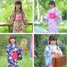 2019 new pink japanese baby girl kimono robe cute kid yukata with belt kids dance costumes child Traditional kimono Costumes