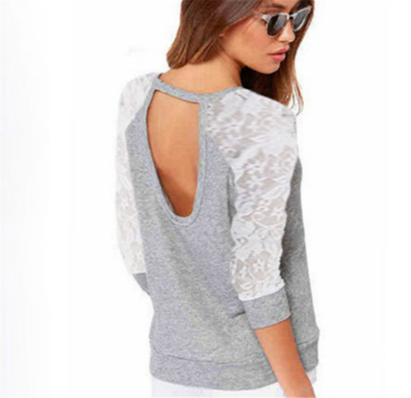 Women Hoody Summer Spring Lace Patchwork Hoodies Backless Pullovers Tops Casual Thin Sweatshirts S-XXL