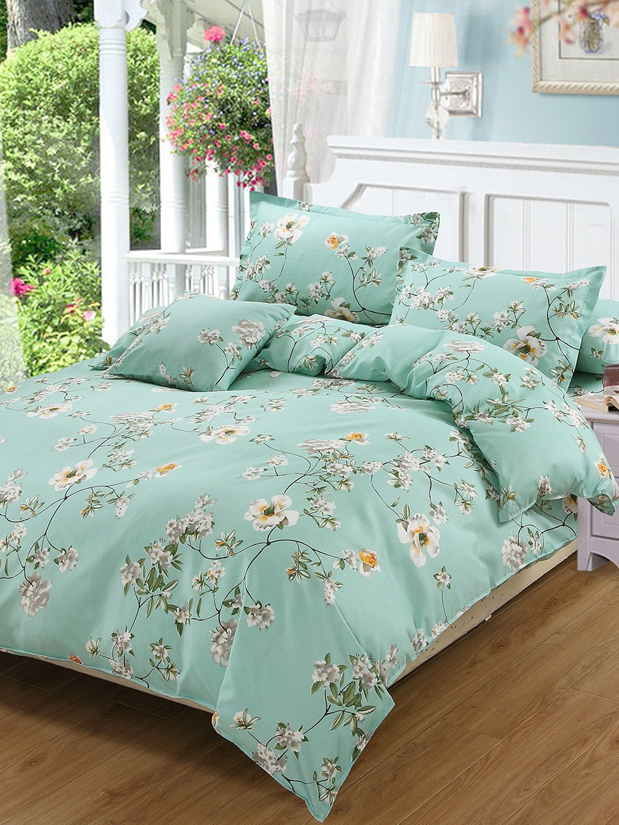 4 Pcs Duvet Covers Fresh Floral Print Breathable Cozy Bedding Set 4 Pcs Duvet Covers Fresh Floral Print Breathable Cozy Bedding Set
