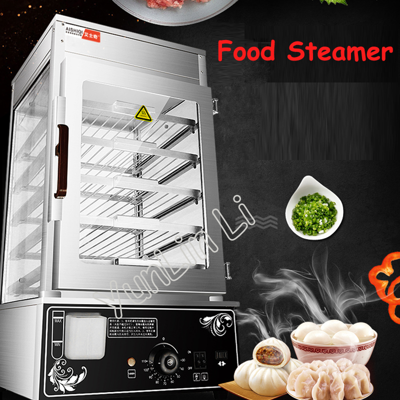 Electric Steamer 220V Bread Steaming Machine Surrounded Toughened Glass Commerical Bun Bread Steamer Bread Maker ASQ-500
