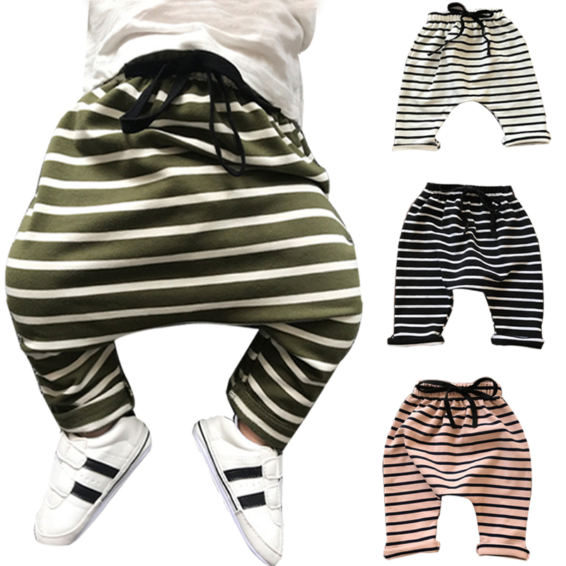 0-3 Years Baby Harem Pants Pants Autumn Winter Cotton Striped Newborn Thicken Trousers Soft Pants Sweat Infant Harem Pants