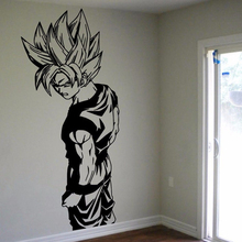 Super Saiyan Goku Cartoon Wall Sticker For Kids Boys Teen Anime Poster Dragon Ball Bedroom Decoration Decals W520