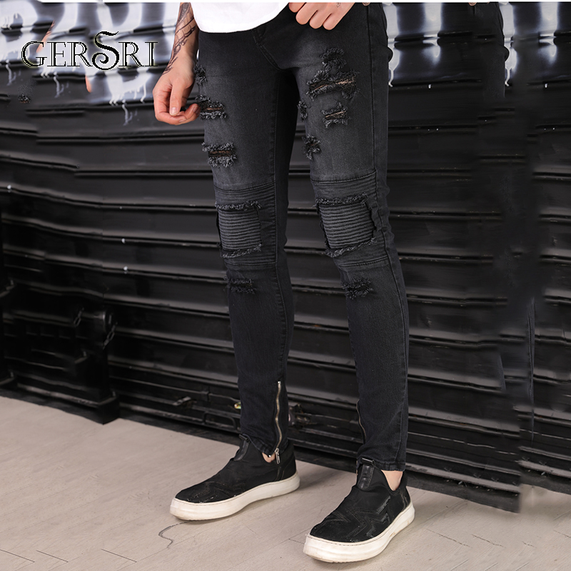 5884c382f3e Gersri Black Ripped Jeans For Men Super Spray on Ankle Tight Middle Waist  Classic Fashion Button