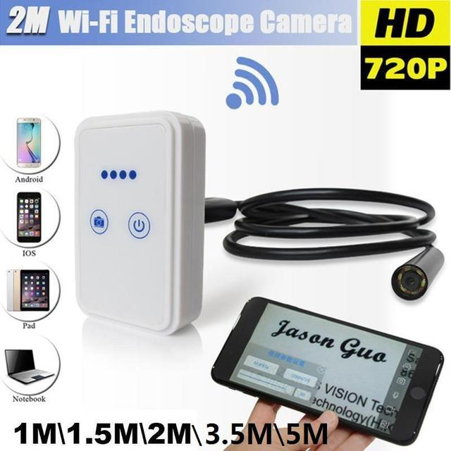 WiFi Wireless For iOS Android Endoscope Borescope HD 2.0MP 9mm Lens WIFI Endoscope Cam 3.5M LED Camera Wireless Borescope Camera