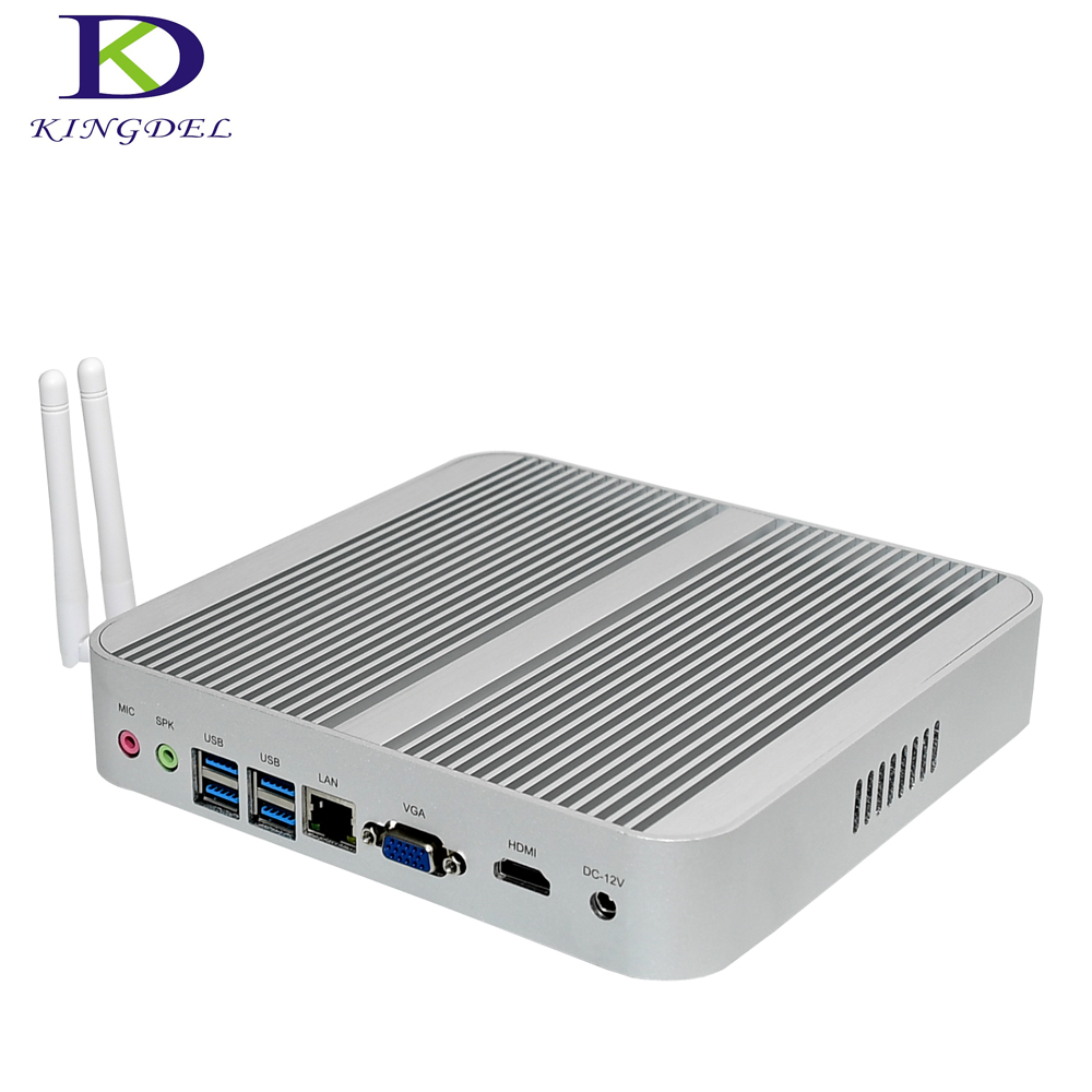 Kingdel Big Promotion for New Year Intel Core i5 6200U i3 6100U  Fanless Mini PC Desktop Computer 4K Streamer HTPC HDMI VGA zipower pm 5148