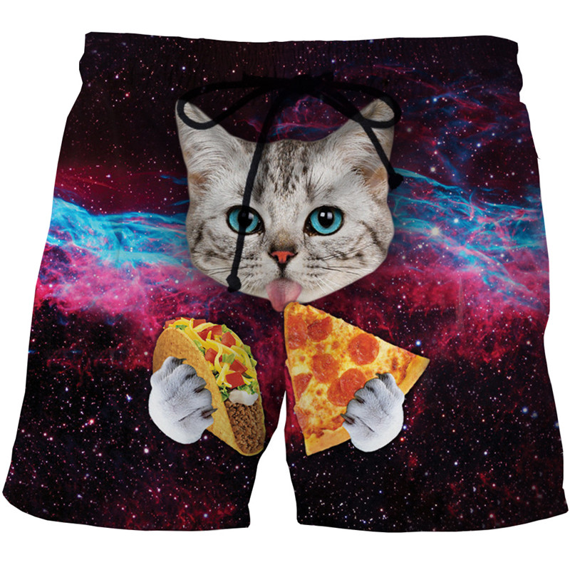 New Style Men's Casual Beach   Shorts   3d Print Cat Animal Quick Dry Lovely Banana Space Men's Casual Beach   Shorts   3d Print Pants