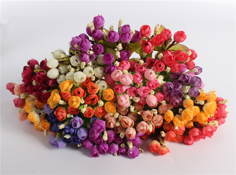 Autumn 15 Heads Silk Roses Bract Artificial Flower For Wedding And Christmas Decor 13