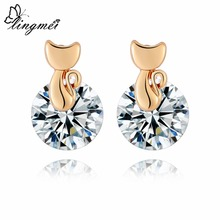 Lingmei Cute Cat-shaped Simple Jewelry Women Wedding Round White & Red Zircon Silver Yellow Gold Color Stud Earrings
