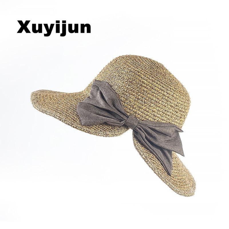 XUYIJUN Female Shi Mini design big hand-woven baby girl sun hat, baseball cap hat girls summer Women sun hat straw ...
