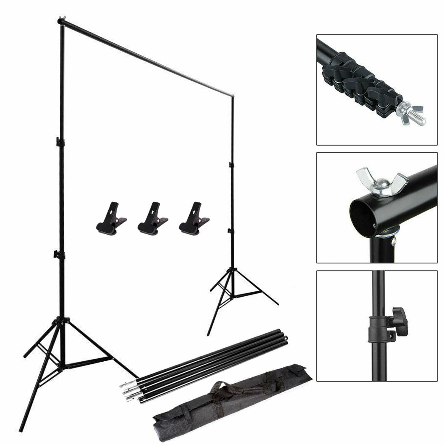 BESIUNI 2M*3M Photography Adjustable Background Support Stand Photo Crossbar Studio Kit