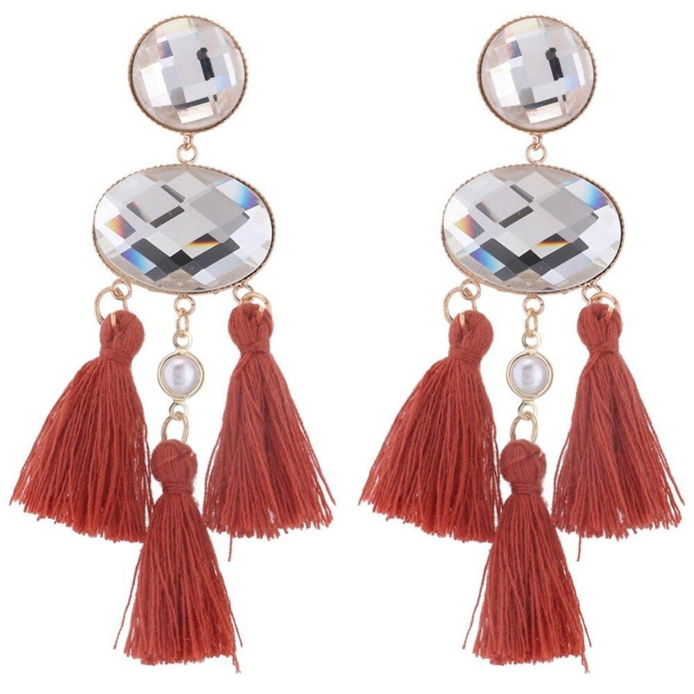 Multi-layer Silk Fabric Long Tassel Drop Earring Women Statement Jewelry