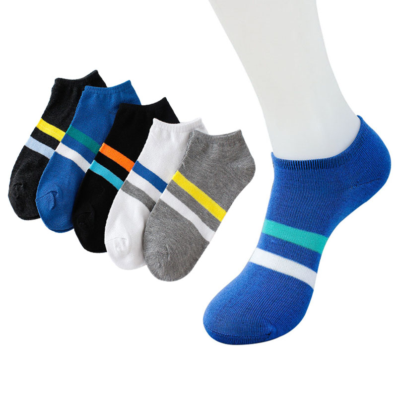 5pairs Casual Men Ankle Sock Chromatic Stripe Of Sock Funny Man Shallow Mouth Shaping Fashion Cotton Male Socks Meias Calcetines image