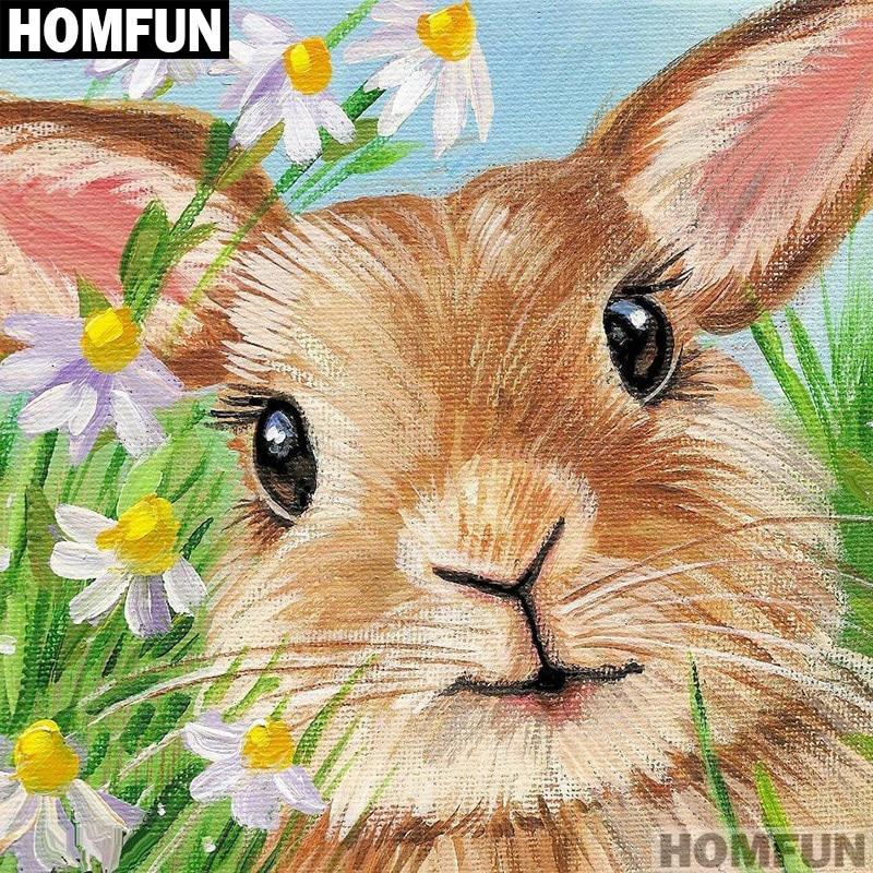 DIY 5D Diamond Rabbits Painting Embroidery Cross Stitch Home Office Decor Animal