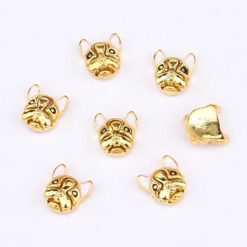 10 pcs สัตว์การออกแบบตกแต่งเล็บ charms bulldog leopard gold โลหะเล็บคริสตัลสีเครื่องประดับเพชร Y1272 ~ 1276
