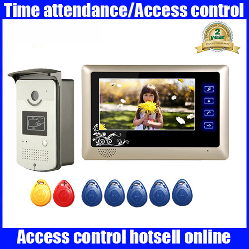 New 7 inch Color Video Door Phone Intercom Doorbell System + 1 Monitor + RFID Access Waterproof Camera free shipping free shipping new wired 7 inch color video door phone doorbell intercom system 1 rfid access camera 2 white monitor in stock