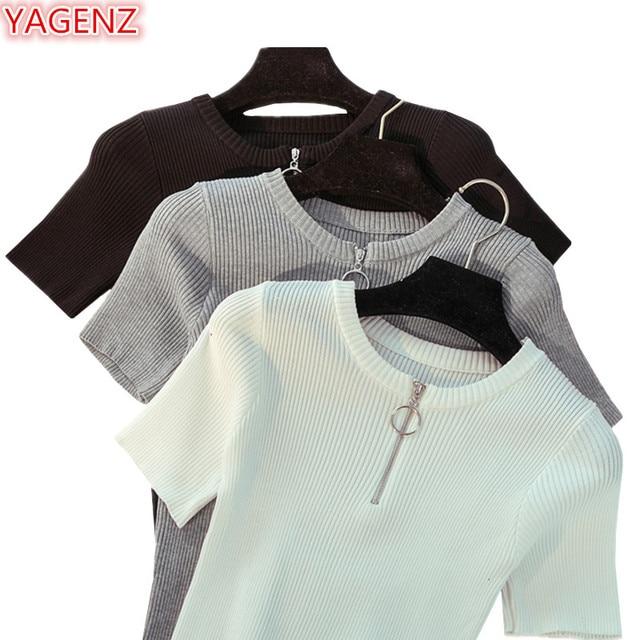 YAGENZ גבירותיי קוריאני נשים סוודרים סרוג סוודר קיץ חולצות לנשים 2018 אופנה רוכסן O צוואר לבן למעלה k6