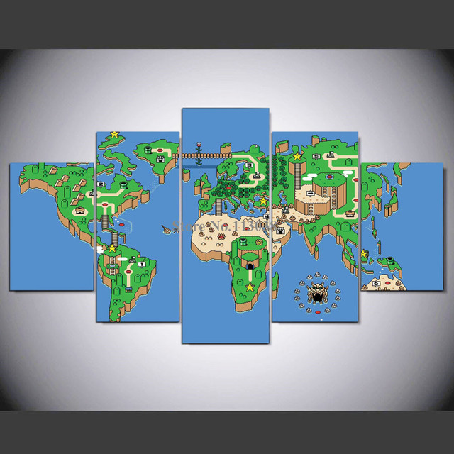 High Quality Panel Modern Green World Map Printed Canvas - High quality world map poster