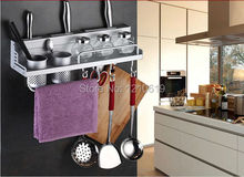 Newly US Free Shipping Alumimum Kitchen Commodity Shelf Knife Rest Storage Holder Rack Wall Mounted