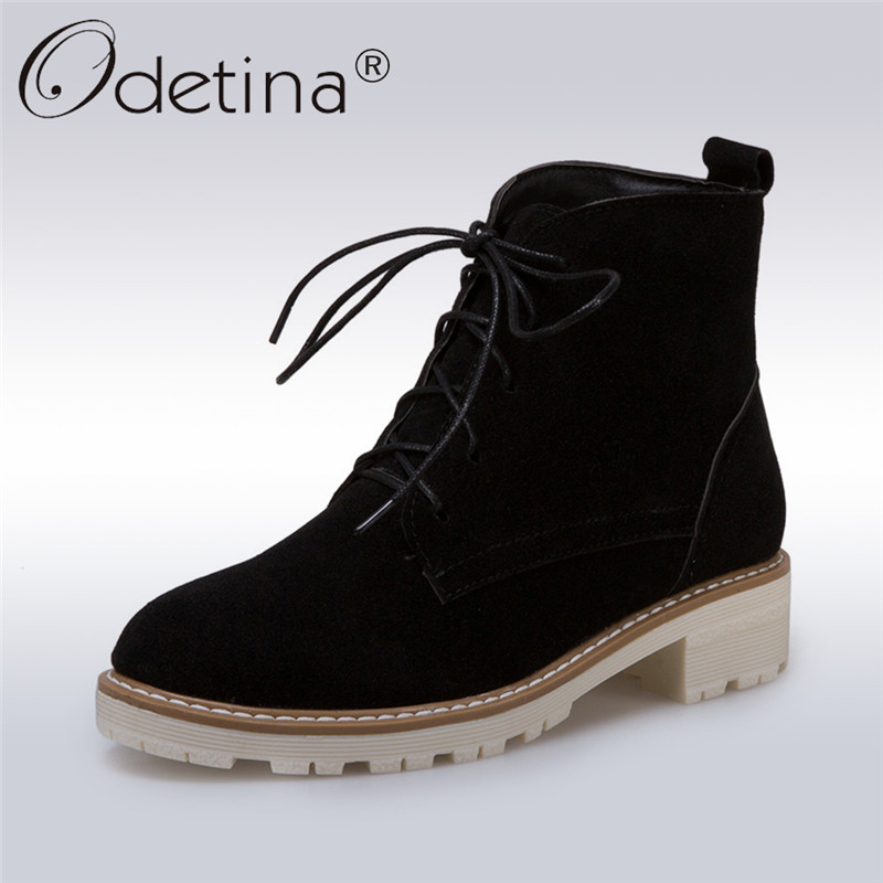 Odetina 2017 Fashion Faux Suede Women Lace Up Ankle Boots Chunky Low Heel Platform Ankle Boots Autumn Winter Shoes Big Size 43 lloprost ke faux fur ankle boots women casual shoes botas slip on platform low heel mujer winter autumn boots big size zz041
