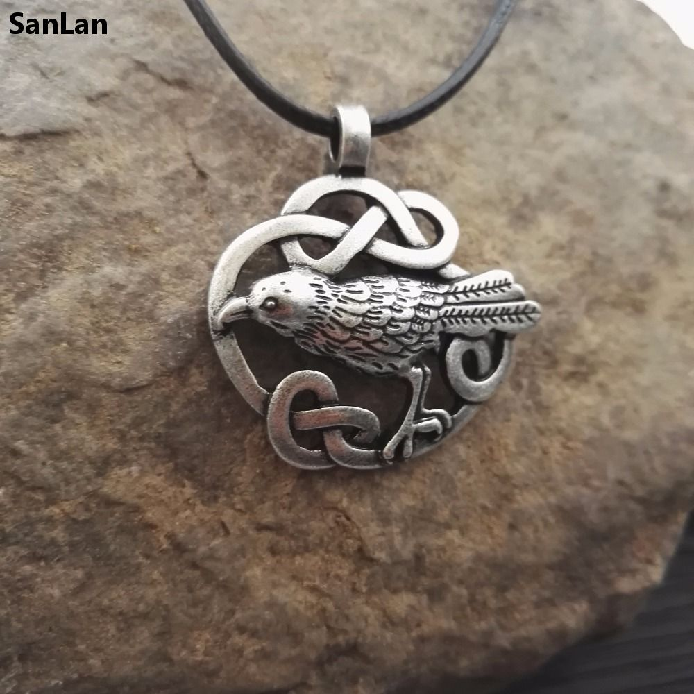 1pcs Celtic Odin's Raven necklace Bird raven Jewelry viking jewelry SanLan