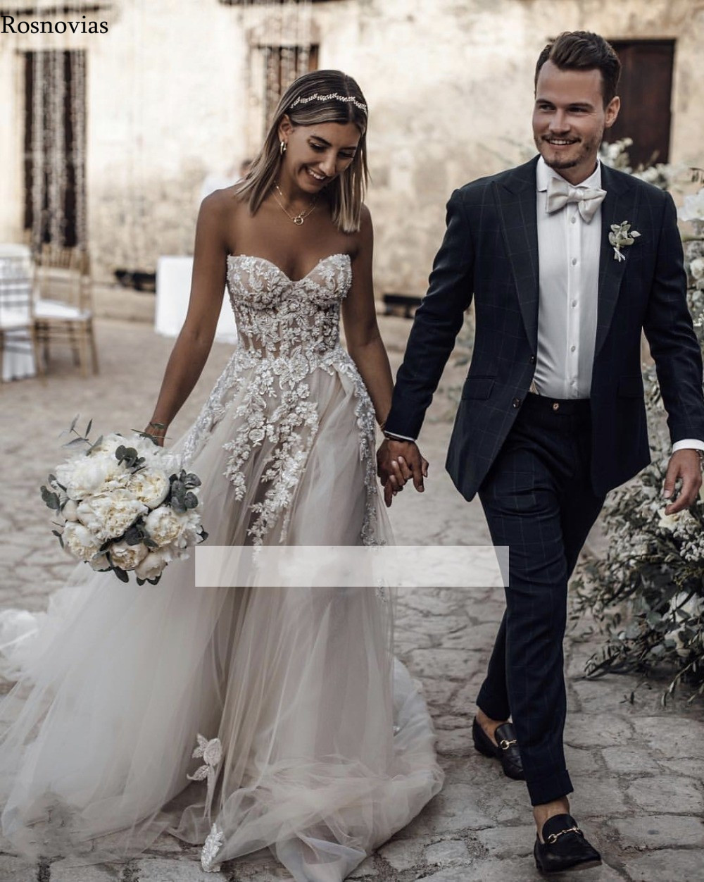 Boho Beach Wedding Dresses 2019 Strapless Backless Sweep Train Lace Appliques Beaded Bridal Gowns Robe De Mariée Customized in Wedding Dresses from Weddings Events