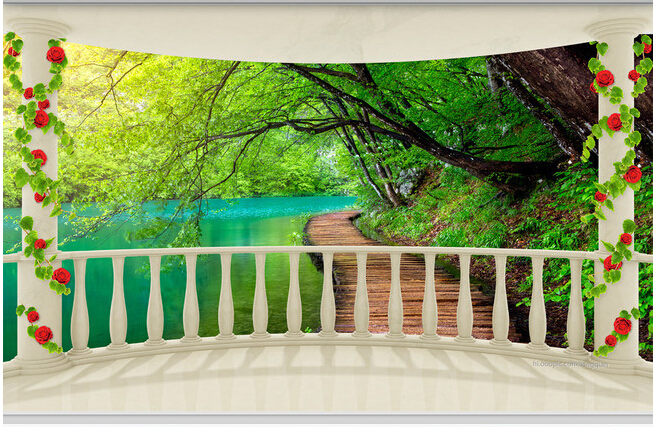 Custom photo wallpaper,balcony forest landscape murals for the living room bedroom TV background wall waterproof papel de parede custom 3d ceiling wallpaper beautiful sky maple murals for the living room bedroom ceiling wall waterproof wallpaper