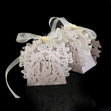50pcs Butterfly Decorated Hollow Laser Paper Wedding Box Laser Cut Chocolate Packaging Mariage Favors And Gifts Birt(China)
