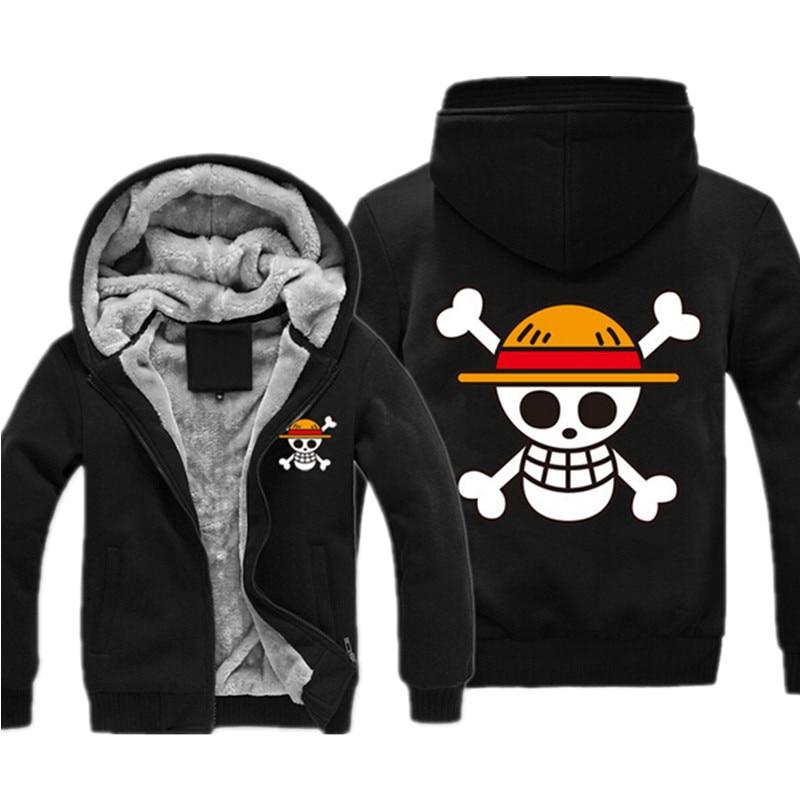 One Piece Sweatshirt Japan Anime Coat Luffy Chopper Print Thicken Zipper Hood One Piece Jacket Casual Mens Fleece Hood