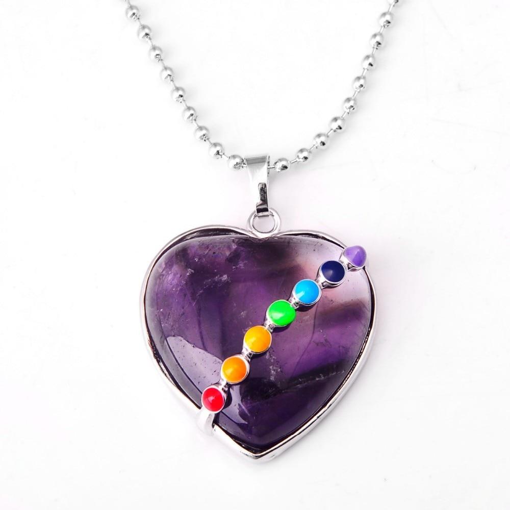 Natural Seven Chakra Gem stone Heart Pendant Necklace Semi precious stone jewelry Lapis Lazuli pendant 31x31mm