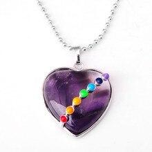 Natural Seven Chakra Gem stone Heart Pendant Necklace Semi precious stone jewelry Lapis Lazuli pendant 31x31mm GIFT