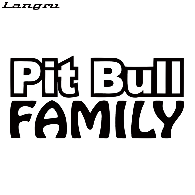 Langru Pit Bull Family Sticker Car Window Car Styling Vinyl Decal Rescue Breed Bully Adopt Love Dog Jdm image