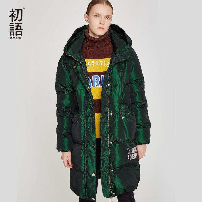 Toyouth Duck Down Women Winter Coat Hooded Abrigo Mujer Outwear Long Coat Puffer Black Warm Jacket