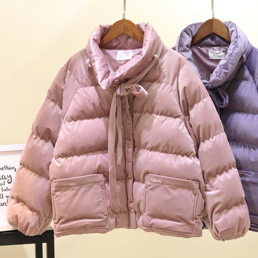 Parkas Court Mode purple Le Manches Chaud L1814 Apricot Bas Corduroy Femelle Longues De Coton Casual Femmes Épaissir D'hiver Survêtement Veste pink Manteau Lâche black Vers ZxSqqfwv