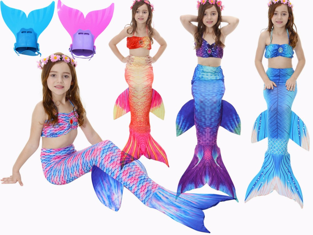цены 4PCS/Set Swimmable Children Diamonds Mermaid Tail With Monofin Fin Girls Kids Swimsuit Mermaid Tail Costume for Girls Swimming