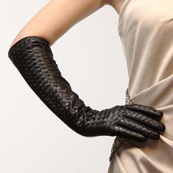 New Arrival 2020 Women Gloves 44cm Long Goatskin Glove Fashion Elbow Real Genuine Leather Black Sheepskin Free Shipping L108NN